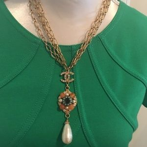 Authentic Chanel crystal Lavalier CC necklace